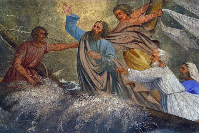 jesus in boat with disciples calming the storm000